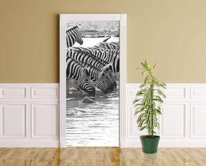 Türaufkleber - Zebras an einer Wasserstelle