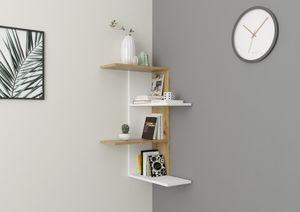 FMD furniture Eckregal mit 4 Ebenen 45 x 45 x 75 cm in Matt Weiß / Artisan Oak Nb Zickzackregal für Schlafzimmer, Wohnzimmer, Küche