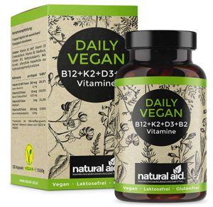 Daily Vegan - Vitamin B12+K2+D3+B2 Komplex - 120 Kapseln hochdosiert