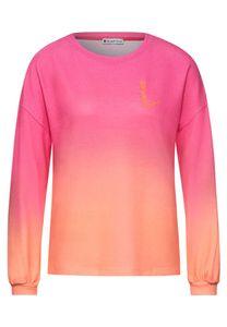 Street One Longsleeves Damen cosy shirt w. small print Größe 36, Farbe: 32811 strong mandarine