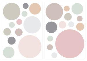 dekodino® Wandtattoo Pastell Punkte in sanften Farben 25 Stück Wandsticker Set