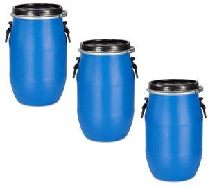 3 Stück 30 Liter Deckelfass, Kunststofffass, Futtertonne, Fass, Plastikfass Farbe blau (3 x 30 D)