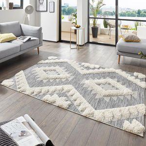 Vintage Handira Teppich Tiddas Creme Grau, Größe:77x150 cm