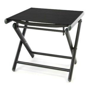 VCM Alu Hocker klappbar Sitzhocker - Textilene schwarz - Rahmen dunkelgrau - Camping Schwarz
