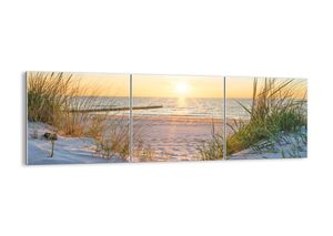 """Glasbild - 150x50 cm - """"Das Rauschen des Meeres, das Singen von Vögeln, ein wilder Strand zwischen den Gräsern ...""""- Wandbilder  - Meer Wellenbrecher - Arttor - GCA150x50-3989"""