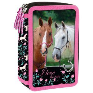 Pferde 3-Fach Federtasche ungefüllt leer Federmäppchen Federmappe Pony