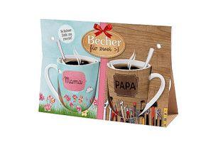 La Vida Tasse Becher 2er Set Mama Papa Blumen Werkzeug bunt braun 250ml
