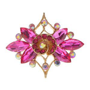 Kristall Strass Diamante Brosche Anstecknadel Broschen Brooch Pin Schmuck Corsage Rosa Rosen Blumen