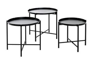 Haku 3-Satz Tisch, schwarz - Maße: Ø: 39/43/48 cm x 37/40/43 cm; 21512