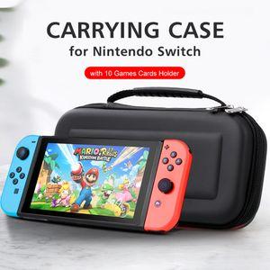 Tragetasche fuer Nintendo Switch mit 10 Spielkartenhaltern EVA-Hartschalenhandtasche fuer Nintendo Switch-Konsole Joy-Con-Controller-Zubehoer