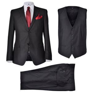 vidaXL Business Anzug für Herren 3-teilig Schwarz Gr. 50