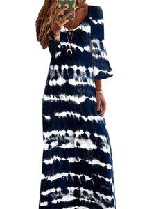 Langes, böhmisches Kleid mit langem Rock und Farbverlauf in Damenfarbe mit langem Ärmel,Farbe: Marineblau,Größe:3XL