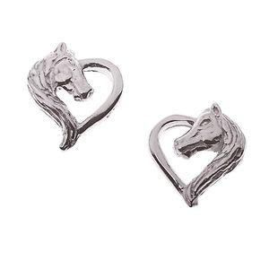 Kinderschmuck Pferd: Herz Kinder Ohrstecker aus Silber
