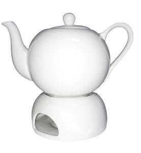 Teekanne 1L mit Stövchen Porzellan weiß