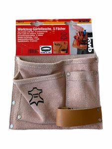 KWB Werkzeuggürtel aus Leder,  Gürteltasche 5 Fächer Werkzeuggürtel Gürteltasche