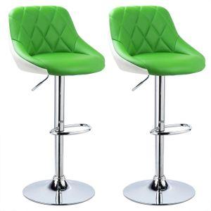 WOLTU 2 farbig Barhocker mit Griff, stufenlose Höhenverstellung, verchromter Stahl, Kunstleder, grün+weiß