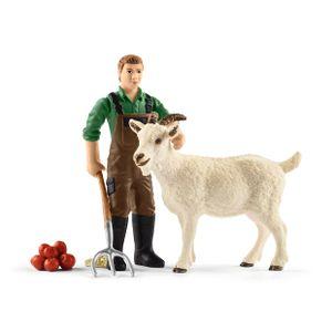 Schleich - Tierfiguren, Bauer mit Ziege; 42375