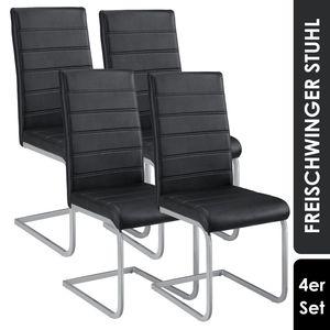 Juskys Freischwinger Stuhl Vegas 4er Set | Kunstleder Bezug + Metall Gestell | 120 kg belastbar | schwarz | Esszimmerstühle Schwingstühle