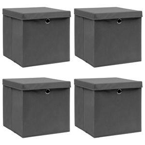 vidaXL Aufbewahrungsboxen mit Deckel 4 Stk. Grau 32×32×32 cm Stoff