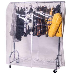 ONVAYA Kleiderständer mit Abdeckhülle | hohe Traglast | stabil | mit Rollen und Ablagefach | bis 100 kg | Metall / Kunststoff | silbergrau | 120 x 50 x 180 cm | Schwerlast