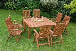 Merxx 9tlg. Comodoro Gartenmöbelset - 8 Sessel, 1 Tisch - Farbe: braun - Maße: Sessel:63x62x110 + Tisch: 100/150x150x74; 8x 25000-011   1x 25921-011