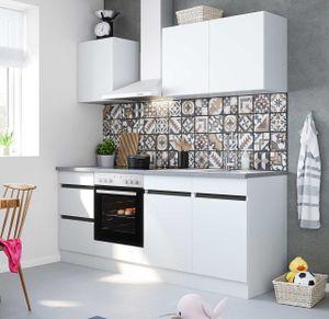 Küchenblock Mika 210 cm mit Einbauspüle ohne Elektrogeräte in weiß
