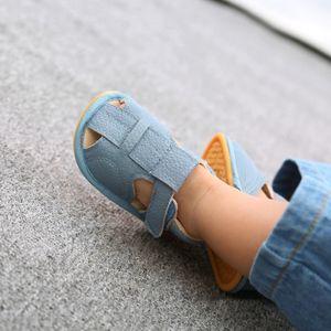 Baby Jungen Mädchen Sandalen Weiche rutschfeste Gummisohle Prewalker Flache Wanderschuhe Größe:20.5,Farbe:Blau