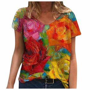 Damen Sommer Blume gedruckt Kurzarm V-Ausschnitt Shirts & Tops Größe:M,Farbe:Bunt