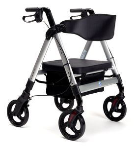 FabaCare XXL Rollator Goliat, höhenverstellbar, faltbar, Gehwagen, bis 200 kg, Farbe Silber