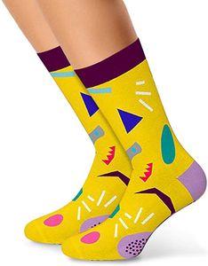 Lustige, bunte, gemusterte, witzige Socken Paar aus Baumwolle - für Damen, Herren & Kinder - Uni Fun Socks als Geschenk