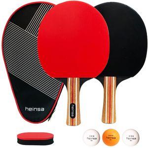 heinsa Tischtennis Set - 2 Tischtennisschläger Profi mit Tischtennisbälle 3 Sterne Bälle und Tasche für Indoor und Outdoor