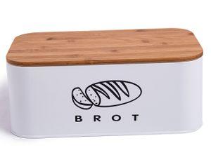 Theo&Cleo Brotkasten aus Metall mit Bambus Deckel 30cm * 18cm * 14cm Weiß