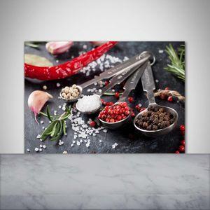 Tulup® Küchenrückwand Spritzschutz aus Glas -100x70 -Spritzschutz auf gehärtetes GlasDeko Essen Getränke Kräuter Gewürze