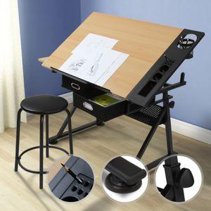MIADOMODO® Zeichentisch mit Hocker - Tischplatte stufenlos neigbar, 2 Schubladen/Arbeitsflächen, Holzoptik Schwarz - Schreibtisch, Bürotisch, Arbeitstisch, Architektentisch für Architekten/Techniker