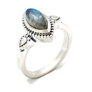 Labradorit Ring 925 Silber Sterlingsilber Damenring grün blau (MRI 134-05),  Ringgröße:62 mm / Ø 19.7 mm