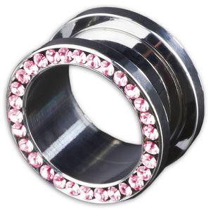 viva-adorno 1 Stück 8mm Flesh Tunnel Schraubverschluss Gewinde Edelstahl Kristall Zirkonia Größe 3 - 16mm Z62, Pink
