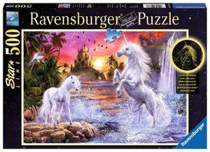 500 Teile Ravensburger Puzzle Star Line leuchtet Einhörner am Fluss 14873