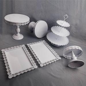 6 STÜCKE Hochzeitstorte Kuchenständer Tortenständer Set Muffinständer Kuchenplatte Cake Stand Halter Weiß Deko für Geburtstag, Hochzeit, Party