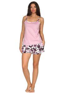 Ärmelloser Damen Spaghetti Träger Shorty Pyjama in tollem Design, auch in Übergrössen, Farbe:rosa, Größe:44/46