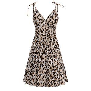 Damen V-Ausschnitt Leopard gedruckt Sommer lässig Strand Hosenträger Kleid mit Tasche Größe:XL,Farbe:Ocker