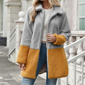 Damenmode Solid Outerwear Plüsch Cardigan Loose Turn-Down Taschenmantel Größe:S,Farbe:Grau