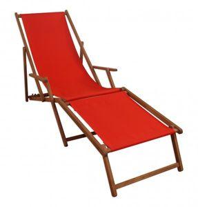 Sonnenliege Liegestuhl rot Fußteil Gartenliege Holz Deckchair Strandstuhl Gartenmöbel 10-308 F