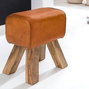 WOHNLING Design Turnbock Sitzhocker Braun 40 x 30 x 47 cm | Turnhocker Hocker Lederhocker Springbock | Beistellhocker Echtleder Fußhocker