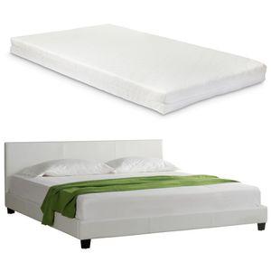Design Polsterbett + Matratze 140 x 200 cm Kunst-Leder Weiß Doppel Bett CORIUM