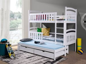 Etagenbett Bett BABSI XL Kiefer Massiv inkl.Rollrost und Gästebett