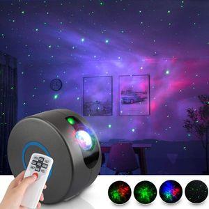 2021 LED Galaxy Sternenhimmel Projektor, 3D Sternenlicht Projektor Lampe mit Fernbedienung, 360° Drehung/7 Farben/Aurora-Effekt Romantisches Nebel-Bühnendekorations-Atmosphärenlicht Nachtlicht für Baby Schlafzimmer Zuhause, Party