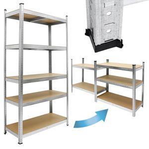 ECD Germany Werkstattregal Schwerlastregal - 200x100x50 cm - verzinkt - belastbar bis 750kg - 5 MDF-Platten - Lagerregal Steckregal Kellerregal Garagenregal Metallregal Regal Werkbank