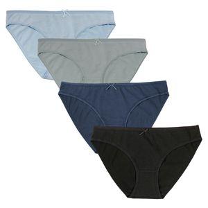 Fabio Farini 4er Set Damen Slip, klassische Basics mit toller Passform, Größe:XL