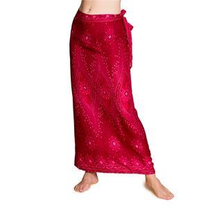 PANASIAM Wrap Skirt Wickelrock Peacock, Farbe/Design:V22 fuchsiarot