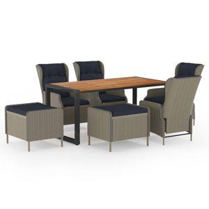 Gartenmöbel Essgruppe 6 Personen ,7-TLG. Terrassenmöbel Balkonset Sitzgruppe: Tisch mit 6 Stühle, Braun❀2681